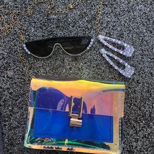 Handbags - Holographic Crossbody  W/ Detachable Gold Chain